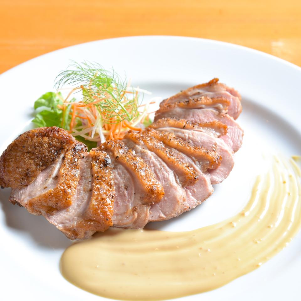 カモ肉のソテー ワサビマヨネーズで!